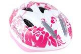 Kind fietshelm wit roze