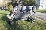 Childhome 6 kind antraciet kinderwagen + Regenhoes + Zonnekappen