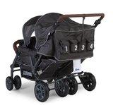 Wandelwagen Quadruple voor 4 kinderen + regenhoes + zonnekap