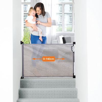 Dreambaby oprolbaar traphekje tot 140cm | Grijs