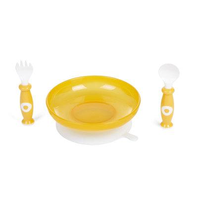 Kunststof bord met zuignap en bestek - voor baby en kind GEEL
