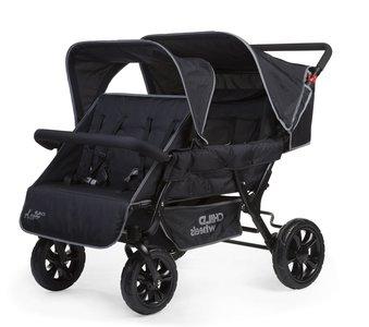 Wandelwagen Two by Two voor 4 kinderen + regenhoes + zonnekap